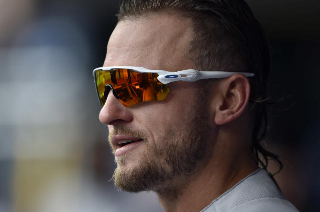 Toronto Blue Jays' Josh Donaldson stands in the dugout prior to a baseball game against the Philadelphia Phillies, Sunday, May 27, 2018, in Philadelphia. (AP)