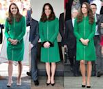 <p>The Duchess of Cambridge has worn this zip-up Kelly green coat three times: twice in 2014 and once in March 2016. </p>