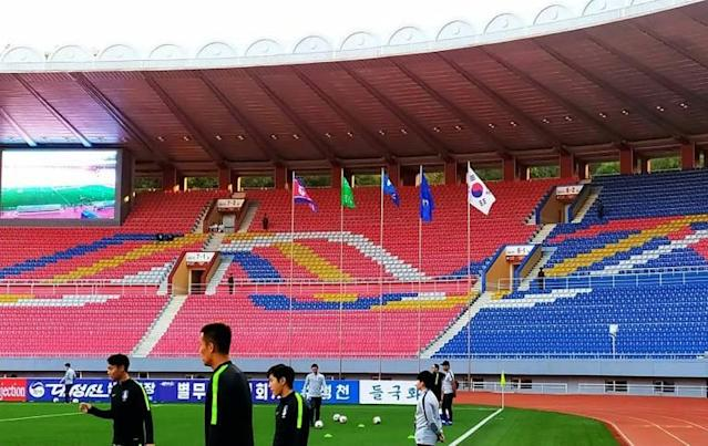 The Korea derby was an odd affair with no fans or media at Pyongyang's Kim Il Sung Stadium (AFP Photo/handout)