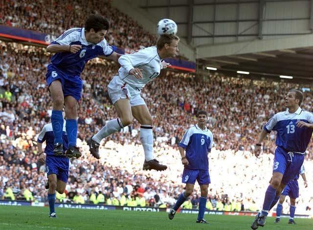 Teddy Sheringham headed England level with his first touch after coming on from the bench