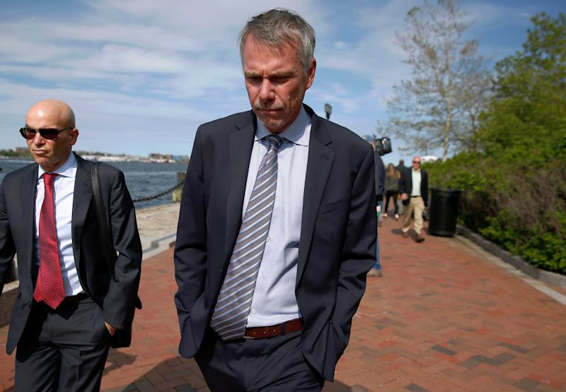 Jan Sartorio leaves federal court Wednesday, May 22, 2019, in Boston, where he pleaded guilty to charges in a nationwide college admissions bribery scandal. (AP Photo/Michael Dwyer)