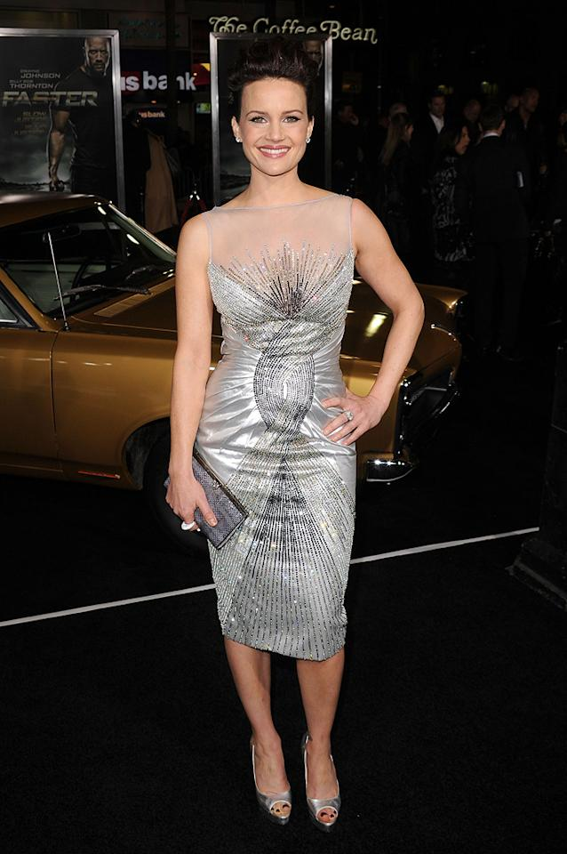 "<a href=""http://movies.yahoo.com/movie/contributor/1800024683"">Carla Gugino</a> at the Los Angeles premiere of <a href=""http://movies.yahoo.com/movie/1810147419/info"">Faster</a> on November 22, 2010."