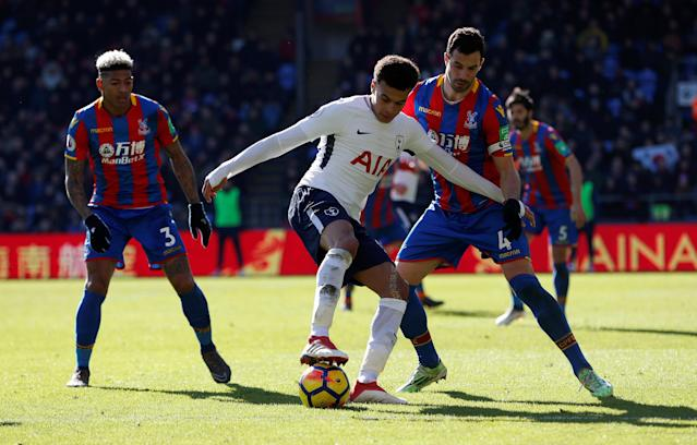 "Soccer Football - Premier League - Crystal Palace vs Tottenham Hotspur - Selhurst Park, London, Britain - February 25, 2018 Tottenham's Dele Alli in action with Crystal Palace's Luka Milivojevic and Patrick van Aanholt Action Images via Reuters/Paul Childs EDITORIAL USE ONLY. No use with unauthorized audio, video, data, fixture lists, club/league logos or ""live"" services. Online in-match use limited to 75 images, no video emulation. No use in betting, games or single club/league/player publications. Please contact your account representative for further details."
