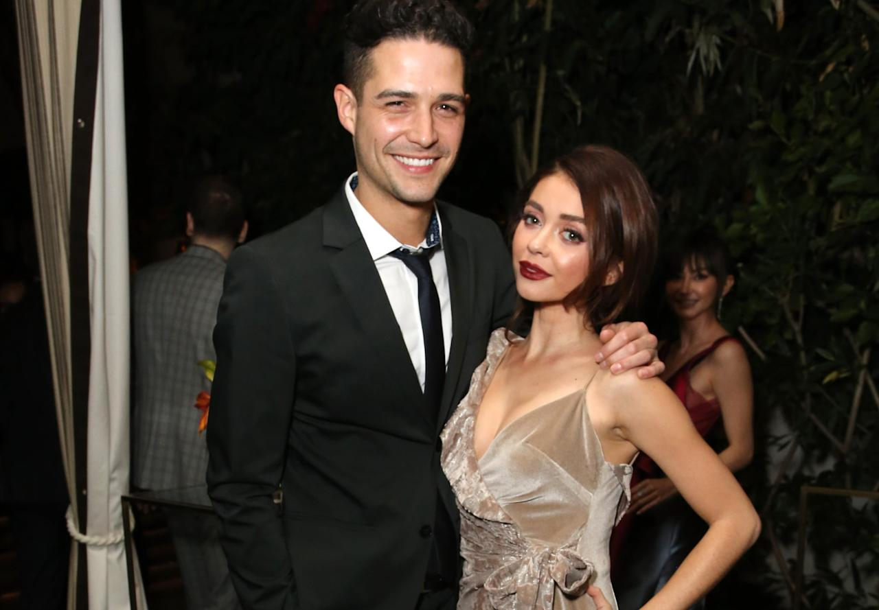 """<p>Let's start with perhaps one of the most successful Bachelor Nation-meets-celebrity relationships: Wells Adams (JoJo Fletcher's season) and Sarah Hyland (acclaimed <strong>Modern Family</strong> actress). The two began dating roughly a year ago after Adams's stint on <strong>Bachelor in Paradise</strong>, and they made it official around <a class=""""sugar-inline-link ga-track"""" title=""""Latest photos and news for Halloween"""" href=""""https://www.popsugar.com/Halloween"""" target=""""_blank"""" data-ga-category=""""Related"""" data-ga-label=""""https://www.popsugar.com/Halloween"""" data-ga-action=""""&lt;-related-&gt; Links"""">Halloween</a> of 2017. </p> <p>The duo have been going strong ever since, <a href=""""https://www.popsugar.com/celebrity/Wells-Adams-Sarah-Hyland-Engaged-45645305"""" class=""""ga-track"""" data-ga-category=""""Related"""" data-ga-label=""""https://www.popsugar.com/celebrity/Wells-Adams-Sarah-Hyland-Engaged-45645305"""" data-ga-action=""""In-Line Links"""">getting engaged in July 2019</a> and providing <strong>Bachelor</strong> fans with plenty of <a href=""""https://www.popsugar.com/celebrity/Sarah-Hyland-Wells-Adams-Pictures-44458479"""" target=""""_blank"""" class=""""ga-track"""" data-ga-category=""""Related"""" data-ga-label=""""http://www.popsugar.com/celebrity/Sarah-Hyland-Wells-Adams-Pictures-44458479"""" data-ga-action=""""In-Line Links"""">canoodling Instagram pictures</a>. They're clearly in it for the long haul, and we are rooting hard for them - and a potential televised <a class=""""sugar-inline-link ga-track"""" title=""""Latest photos and news for wedding"""" href=""""https://www.popsugar.com/Wedding"""" target=""""_blank"""" data-ga-category=""""Related"""" data-ga-label=""""https://www.popsugar.com/Wedding"""" data-ga-action=""""&lt;-related-&gt; Links"""">wedding</a> . . . Hey, we can dream!</p>"""