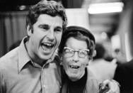FILE - Indiana coach Bobby Knight hugs his mother, Hazel, after the Indiana team beat Michigan 86-86 to win the NCAA college basketball championship in Philadelphia, in this Monday, March 30, 1976, file photo. (AP Photo/File)