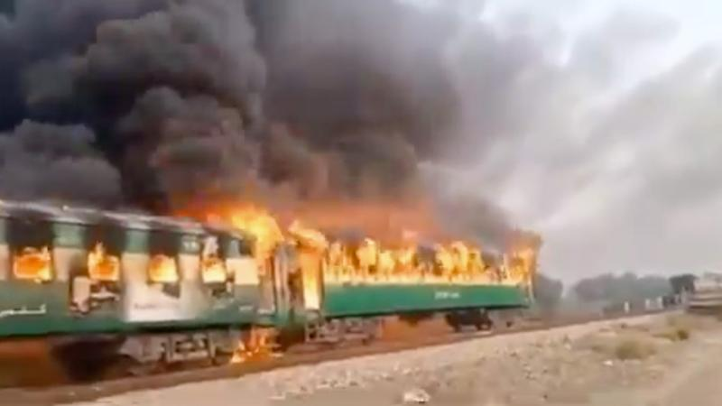 A gas stove exploded on a passenger train in Pakistan, killing more than 70 people. Source: Twitter - Radio Pakistan.