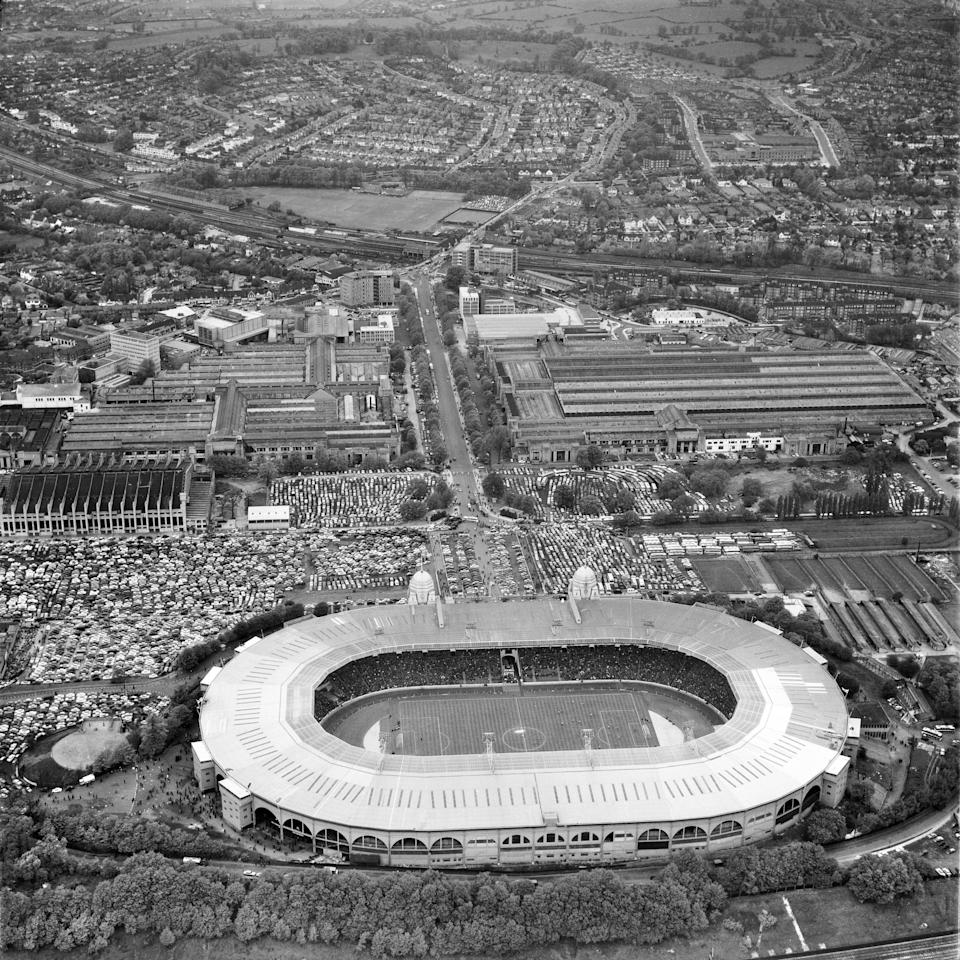 Wembley Stadium, London, 1963. Aerial view of the stadium on 8 May 1963 during an international friendly match, a 1-1 draw between England and Brazil. (Photo by English Heritage/Heritage Images/Getty Images) - Getty
