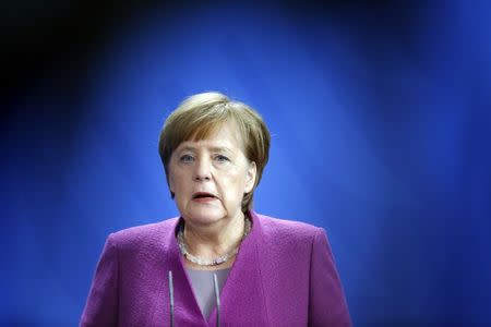 German Chancellor Angela Merkel addresses a news conference after talks at the chancellery in Berlin