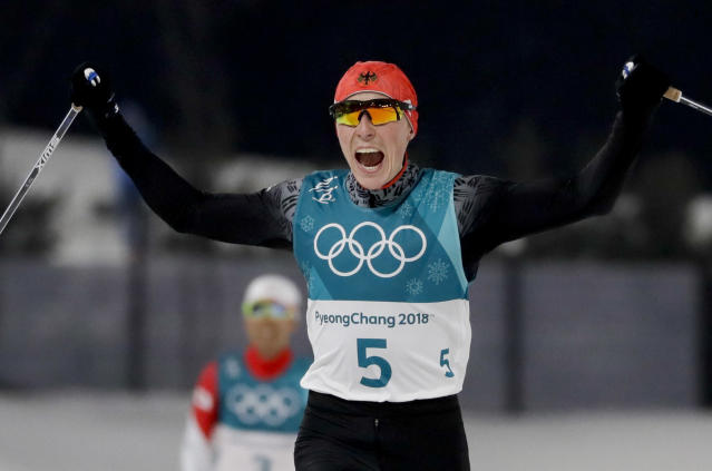 <p>Eric FrenzeL of German was in a tight four-way race, but ultimately emerged with the gold medal.. (AP Photo/Kirsty Wigglesworth) </p>