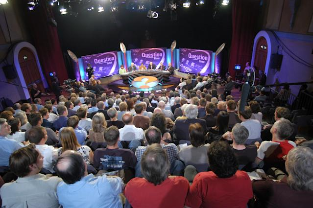 Behind the scene view of Question Time - Question Time studio and audience Newbury 28/05/2004. (Photo by Jeff Overs/BBC News & Current Affairs via Getty Images)