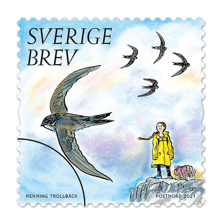 A stamp featuring climate activist Greta Thunberg