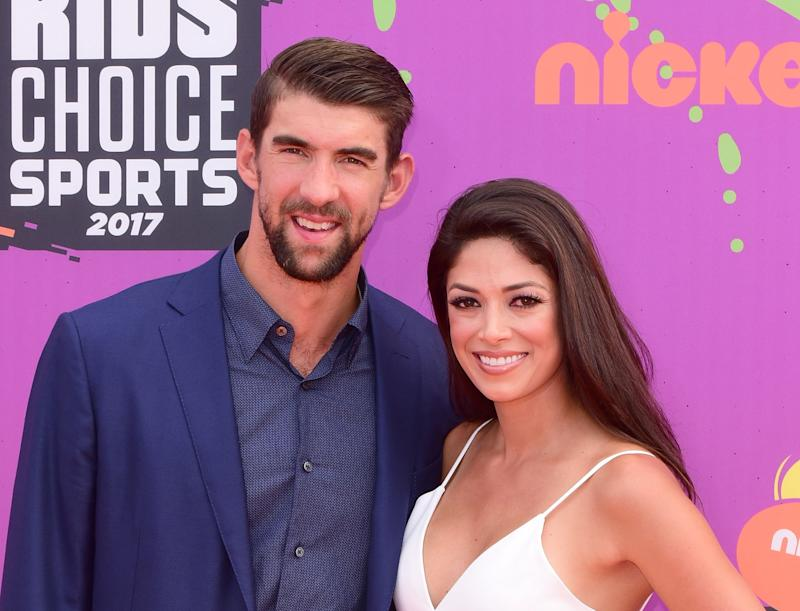 LOS ANGELES, CA - JULY 13: Olympic Swimmer Michael Phelps and wife Nicole Johnson attend the 2017 Nickelodeon Kids' Choice Sports Awards at Pauley Pavilion on July 13, 2017 in Los Angeles, California. (Photo by C Flanigan/Getty Images)