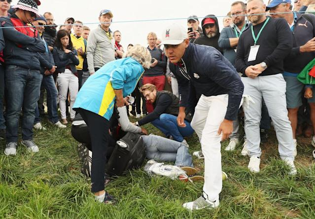 Brooks Koepka hit a spectator in the face with a drive. (Getty)