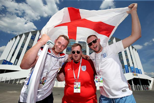 <p>England fans get into the spirit of things before the game </p>
