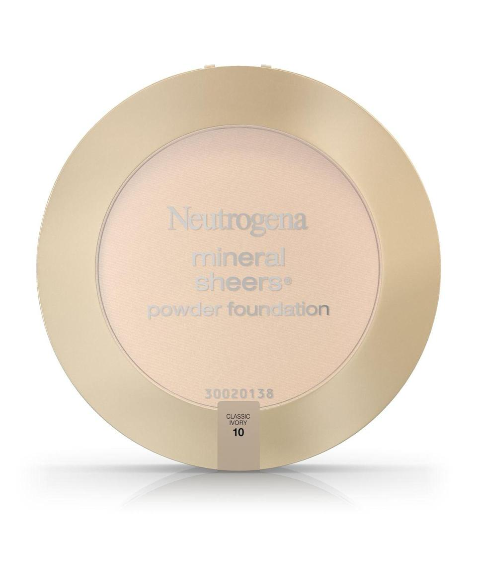 <p>The <span>Neutrogena Mineral Sheers Powder Foundation</span> ($14) helps you cover up redness, acne, and marks. This powder drugstore foundation is buildable and includes SPF 20.</p>