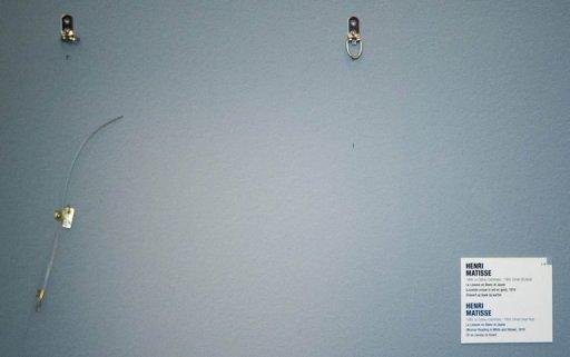 This October 16, 2012 photo shows an empty spot where a painting was stolen at the Kunsthal museum in Rotterdam