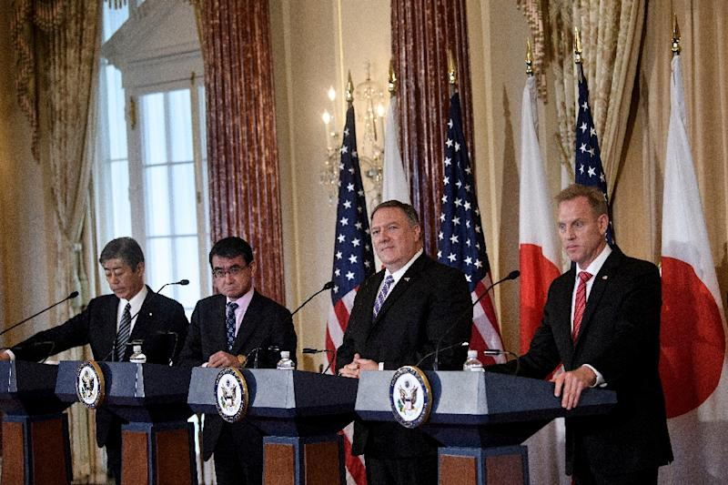 Secretary of State Mike Pompeo (second from right) says that he remains in charge of diplomacy with North Korea despite the regime's demands that he be excluded