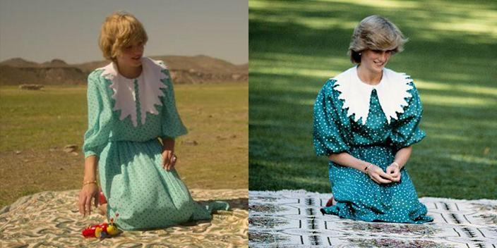 """<p>Another memorable moment from the couple's Australian royal tour was their photo op with Prince William. As such, the show placed actress Emma Corrin in a polka dot silk dress with an oversized bib collar, just like Princess Diana wore in real life. </p><p><strong>RELATED</strong>: <a href=""""https://www.goodhousekeeping.com/beauty/fashion/tips/g1372/princess-diana-fashion/"""" rel=""""nofollow noopener"""" target=""""_blank"""" data-ylk=""""slk:40 of Princess Diana's Best Style Moments Through the Years"""" class=""""link rapid-noclick-resp"""">40 of Princess Diana's Best Style Moments Through the Years</a></p>"""