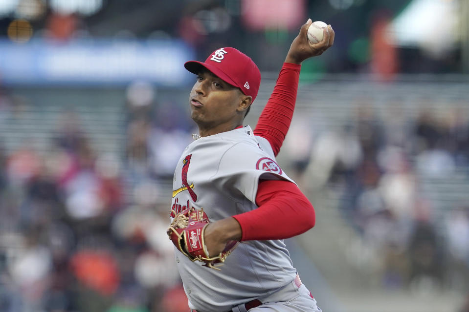 St. Louis Cardinals' Johan Oviedo pitches against the San Francisco Giants during the first inning of a baseball game in San Francisco, Wednesday, July 7, 2021. (AP Photo/Jeff Chiu)