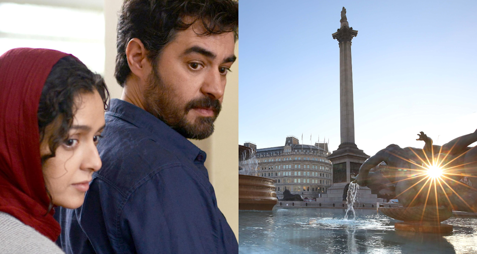 The two leads in 'The Salesman' and Trafalgar Square itself. (Credits: Phil Toscano/PA Wire / Filmiran)