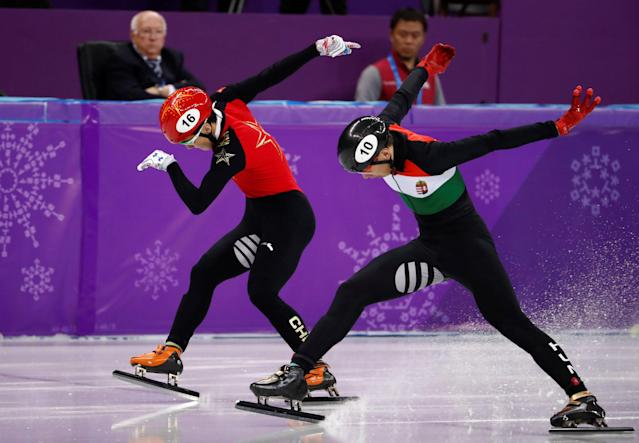 "Short Track Speed Skating Events - Pyeongchang 2018 Winter Olympics - Men's 500m Finals - Gangneung Ice Arena - Gangneung, South Korea - February 22, 2018 - Sandor Liu Shaolin of Hungary and Ren Ziwei of China in action. REUTERS/Damir Sagolj SEARCH ""OLYMPICS BEST"" FOR ALL PICTURES. TPX IMAGES OF THE DAY."