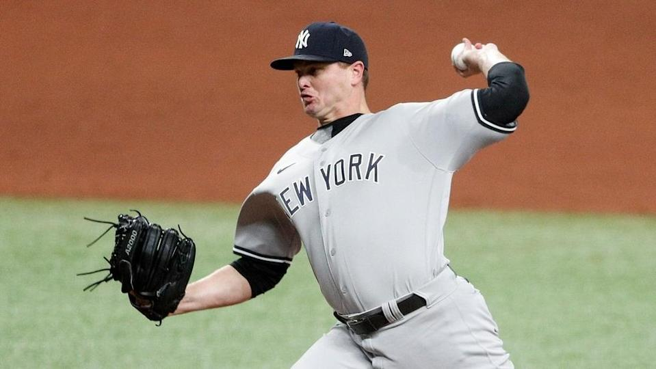 Yankees Justin Wilson pitches in road uniform