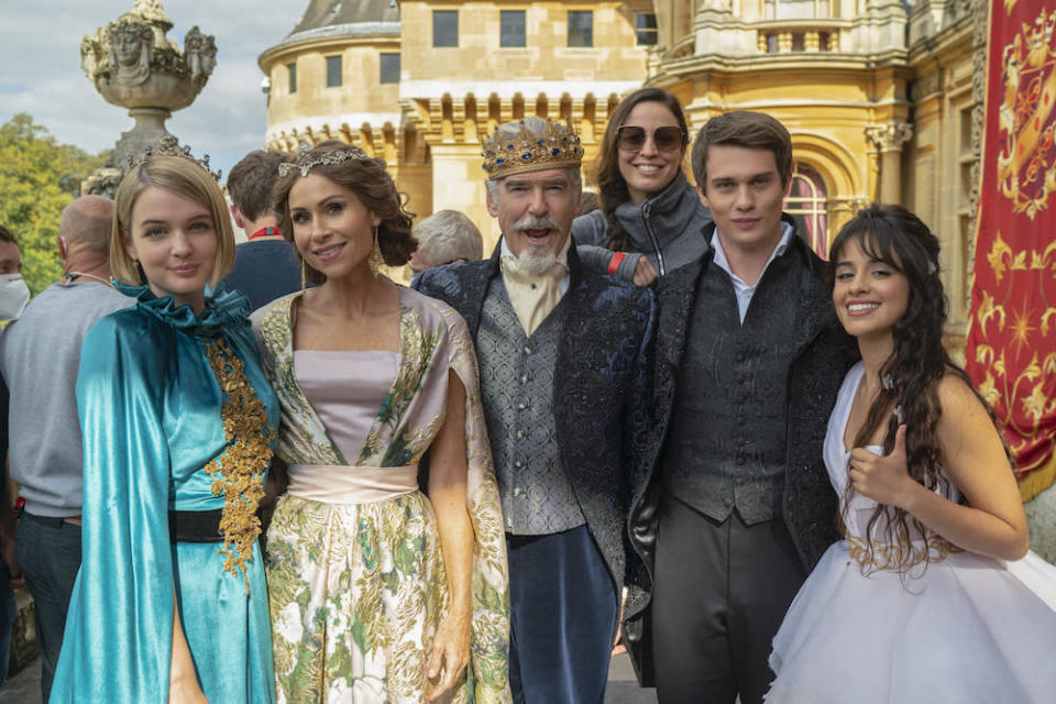 """Left to right: Tallulah Greive, Minnie Driver, Pierce Brosnan, director Kay Cannon, Nicholas Galitzine and Camila Cabello star in """"Cinderella."""" - Credit: Courtesy of Christopher Raphael/Amazon"""