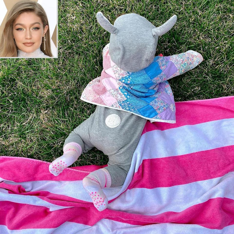 """<p>Some bunny is having a hoppy Easter! Hadid <a href=""""https://www.instagram.com/p/CNQnXZOnFAQ/"""" rel=""""nofollow noopener"""" target=""""_blank"""" data-ylk=""""slk:dressed Khai in a sweet bunny onesie"""" class=""""link rapid-noclick-resp"""">dressed Khai in a sweet bunny onesie</a> for her first Easter celebration. </p>"""