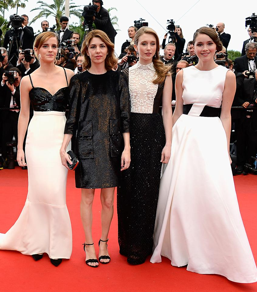 CANNES, FRANCE - MAY 16:  (L-R) Actress Emma Watson, director Sofia Coppola and actresses Taissa Fariga and Katie Chang attend 'The Bling Ring' premiere during The 66th Annual Cannes Film Festival at the Palais des Festivals on May 16, 2013 in Cannes, France.  (Photo by Pascal Le Segretain/Getty Images)