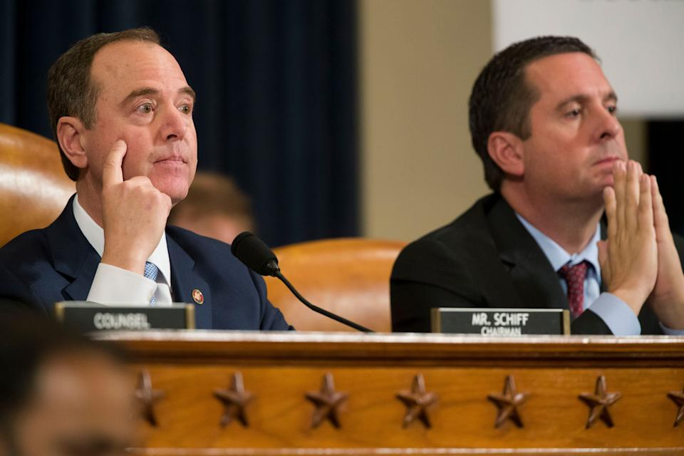 House Intelligence Committee Chairman Adam Schiff (left) speaks as ranking member Devin Nunes looks on, as former U.S. Ambassador to Ukraine Marie Yovanovitch testifies before the committee on Friday. (Photo: ASSOCIATED PRESS)