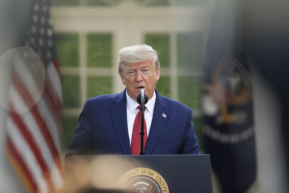 Trump speaks during a Coronavirus Task Force news conference in the Rose Garden on Sunday, March 29, 2020. Source: Getty