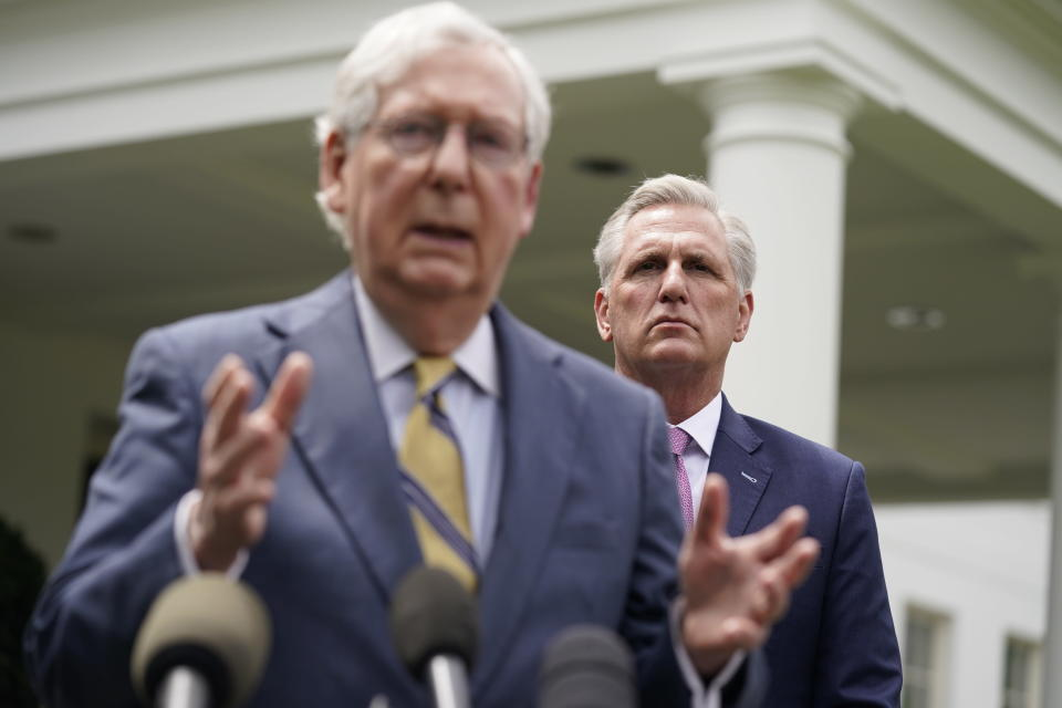 House Minority Leader Kevin McCarthy of Calif., right, listens as Senate Minority Leader Mitch McConnell of Ky., speaks to reporters outside the White House after a meeting with President Joe Biden, Wednesday, May 12, 2021, in Washington. (AP Photo/Evan Vucci)
