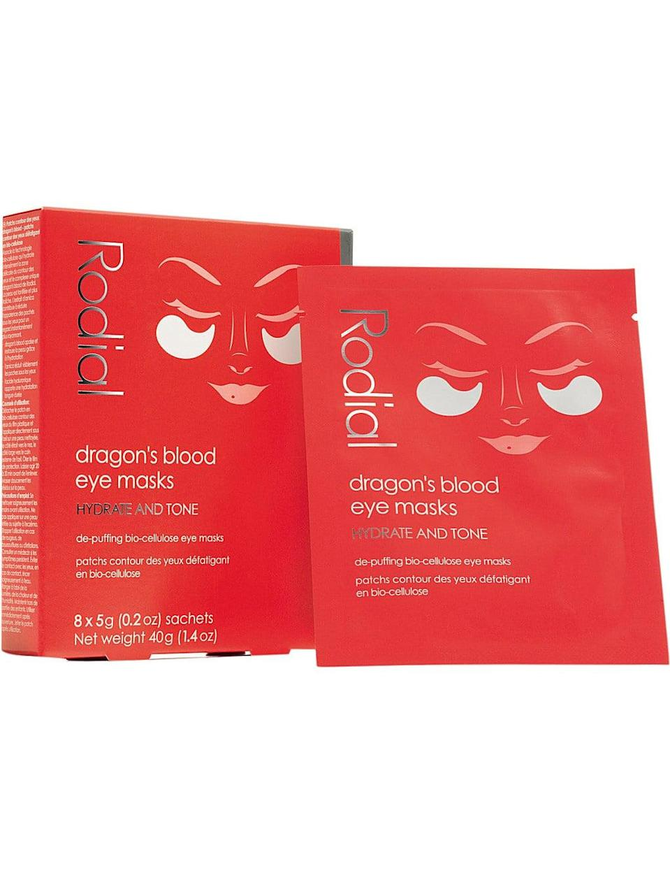 """<p>Look past the creepy name: these <span>Rodial Dragon's Blood Eye Masks</span> ($49) are what dreams, not nightmares, are made of. The """"dragon's blood"""" in question is actually sap from the Croton lechleri tree, which <a href=""""https://www.ncbi.nlm.nih.gov/pubmed/14736360"""" class=""""link rapid-noclick-resp"""" rel=""""nofollow noopener"""" target=""""_blank"""" data-ylk=""""slk:studies have shown"""">studies have shown</a> works as a natural deswelling agent. I learned this firsthand when a quarter-size dollop of shampoo got stuck in my eye and left the area super red. I slapped on one of these bad boys and felt the irritation wither away. Just call me the mother of dragons.</p>"""