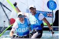<p>Britain's Stuart Bithell and Dylan Fletcher secured Olympic gold in the Men's Skiff 49er, but it was a close call as they crossed the finish line just half a boat length sooner than Germany.</p>