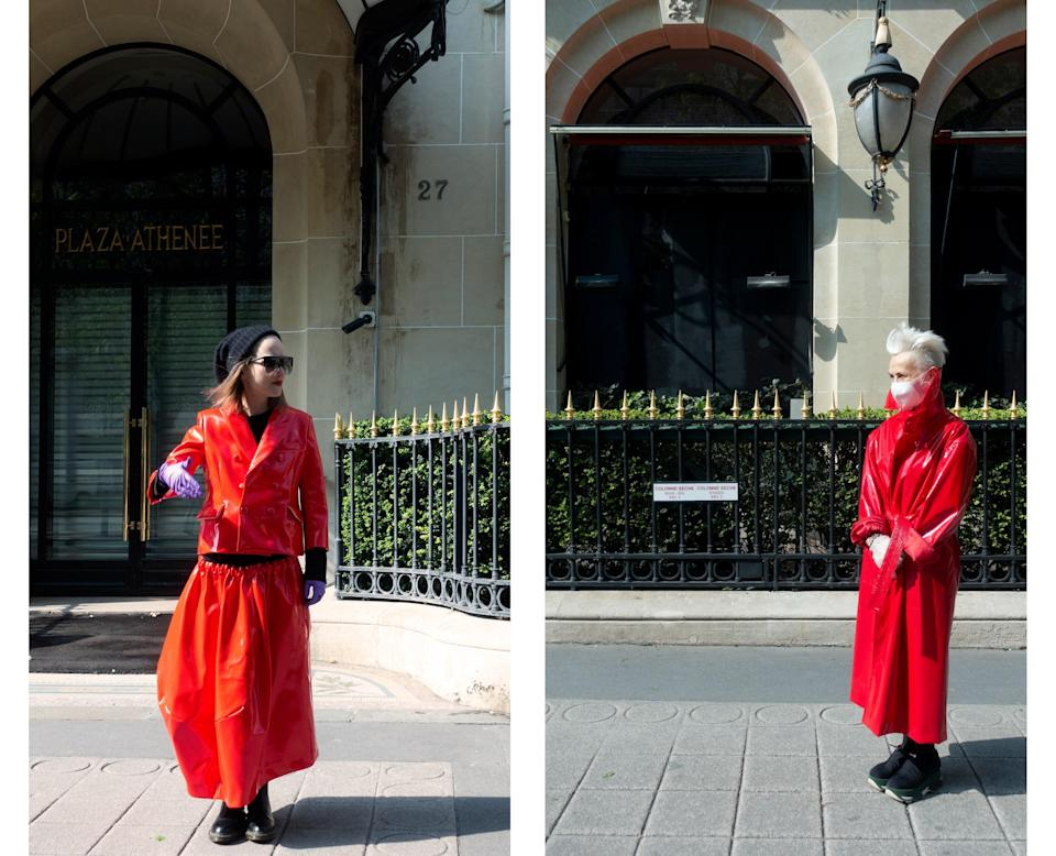 """<div class=""""caption""""> Wearing Comme des Garçons and Balenciaga by Demna Gvasalia in front of the Hôtel Plaza Athénée. </div>"""