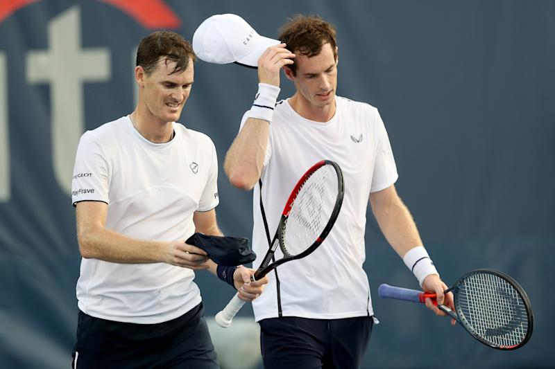 WASHINGTON, DC - AUGUST 02: Andy Murray (R) and his brother Jamie Murray of Great Britain after losing in their doubles match against Raven Klaasen of Russia and Michael Venus of New Zealand during Day 5 of the Citi Open at Rock Creek Tennis Center on August 02, 2019 in Washington, DC. (Photo by Rob Carr/Getty Images)