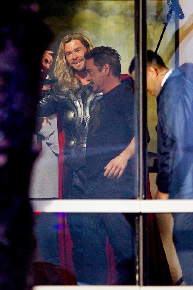 <p>Thor is back! Hemsworth was seen for the first time filming <em>Avengers 4</em> on Wednesday. The actors looked like they were already having a blast, as Chris showed off his long wavy locks to Downey's Tony Stark. (Photo: Backgrid) </p>