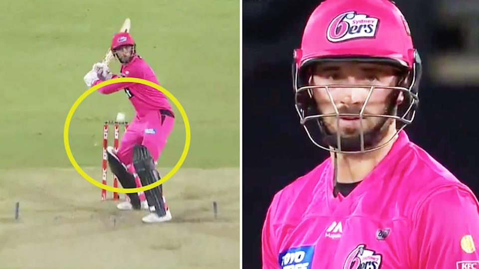 James Vince (pictured left) was left stranded on 98 runs after a wide for the final ball from AJ Tye, which clearly left him frustrated (pictured right). (Images: Fox Sports)