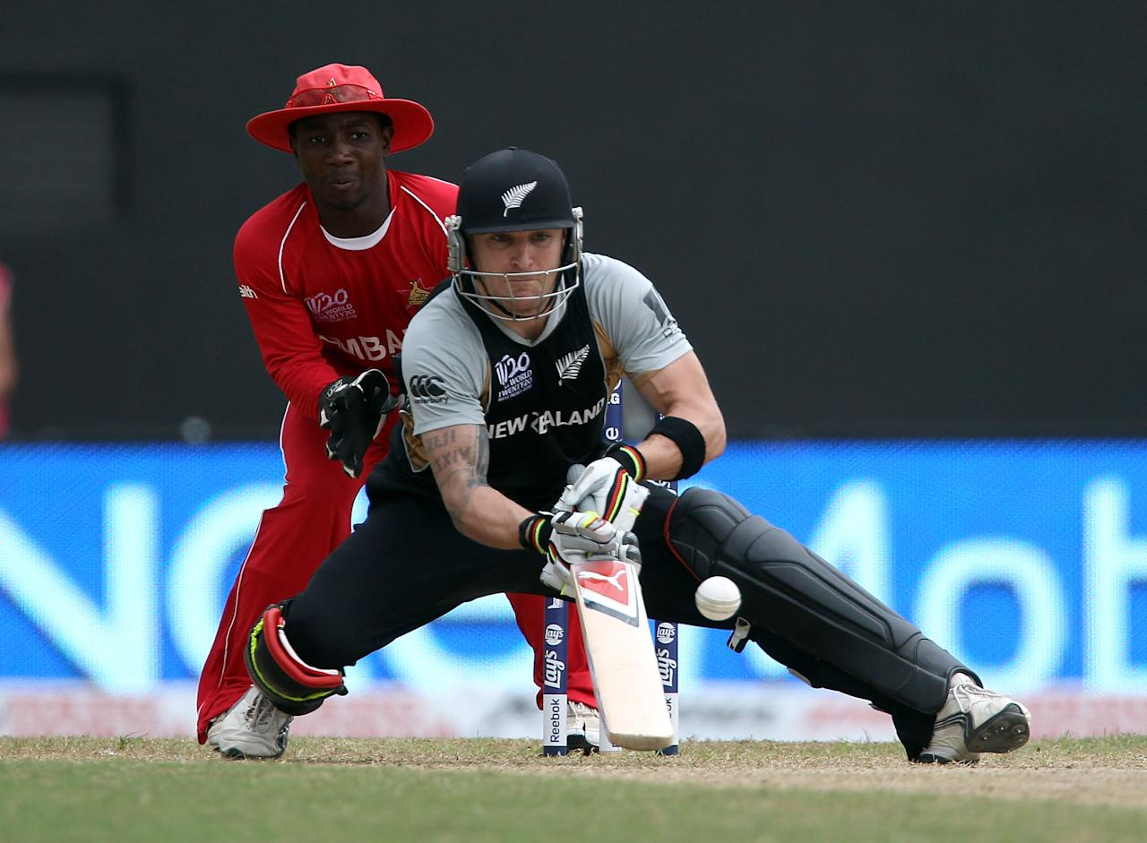 PROVIDENCE, GUYANA - MAY 04: Brendon McCullum  of New Zealand plays a scoop shot during the ICC T20 World Cup Group B match between New Zealand and Zimbabwe at the Guyana National Stadium Cricket Ground on May 3, 2010 in Providence, Guyana.  (Photo by Clive Rose/Getty Images)