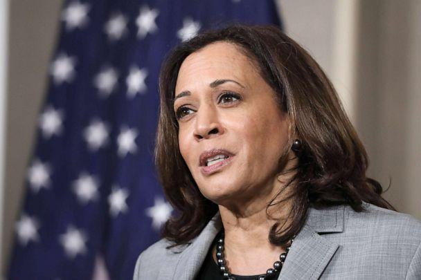 PHOTO: Senator and Democratic Vice Presidential nominee, Kamala Harris, delivers remarks about President Trump's Supreme Court pick to a room full of reporters at Shaw University in Raleigh, N.C., Sept. 28, 2020. (Logan Cyrus/AFP via Getty Images)