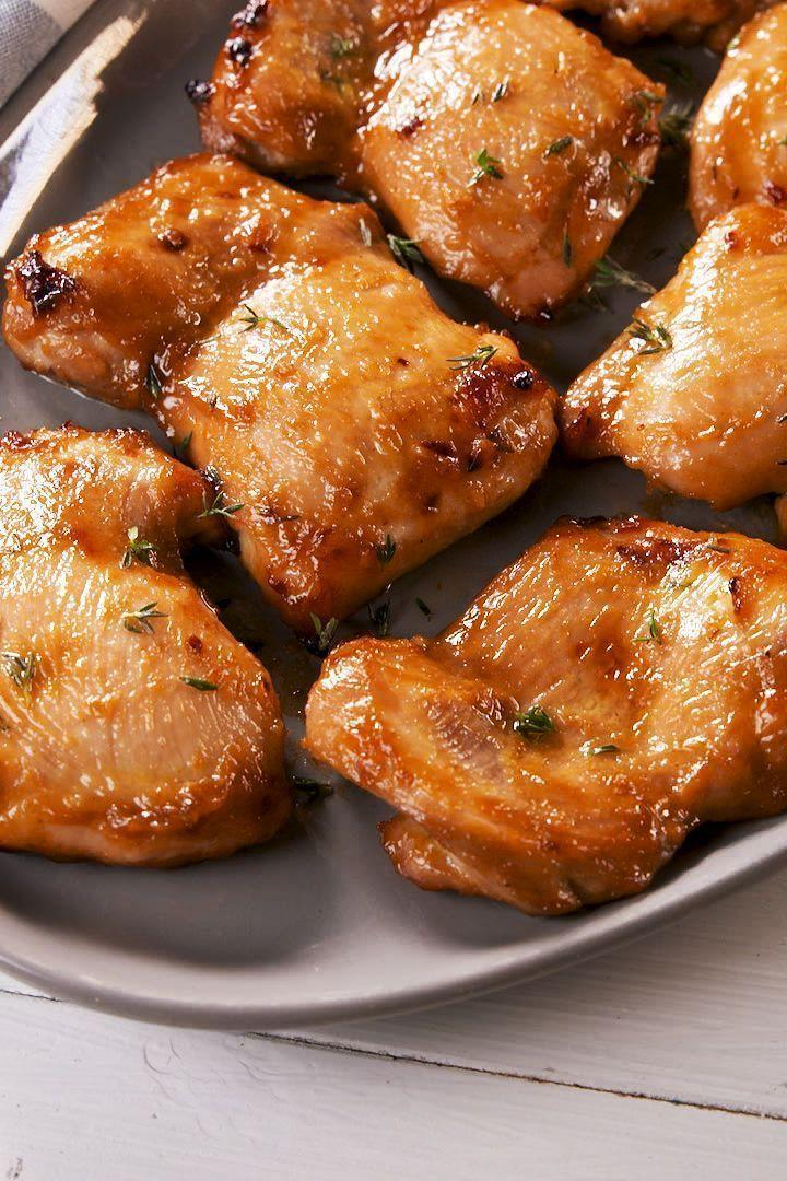 """<p>These boneless chicken thighs first get marinated in an easy honey mustard-esque sauce that makes them so juicy and flavourful. </p><p>Get the <a href=""""https://www.delish.com/uk/cooking/recipes/a30243964/how-to-cook-boneless-chicken-thigh-oven-recipe/"""" rel=""""nofollow noopener"""" target=""""_blank"""" data-ylk=""""slk:Baked Boneless Chicken Thighs"""" class=""""link rapid-noclick-resp"""">Baked Boneless Chicken Thighs</a> recipe.</p>"""