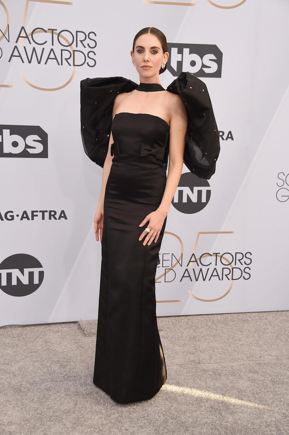 <p>Alison Brie, in Miu Miu, made a bold arrival at the 2019 Screen Actors Guild Awards. (Photo: Getty Images) </p>