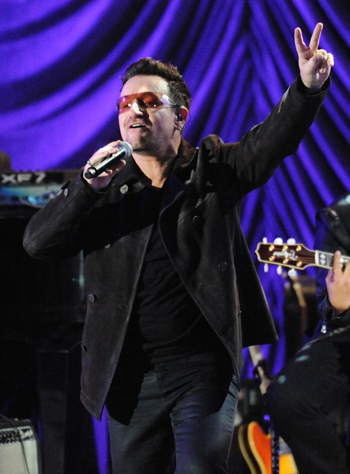 "Bono performs with K'naan at the ""A Decade of Difference"" concert on October 15, 2011, at the Hollywood Bowl, Los Angeles. <br><br>(Photo by Stephanie Cabral/Yahoo!)"