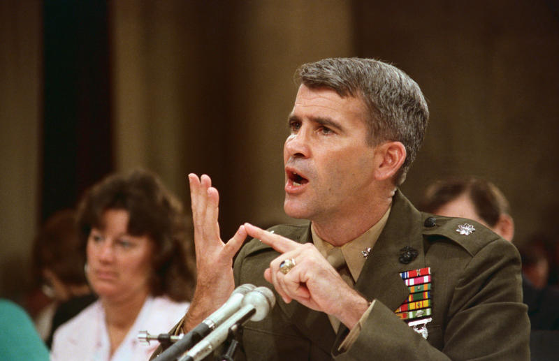 North, during his public testimony before the Iran-Contra committee, said he assumed President Ronald Reagan approved the diversion of Iran arms-sales profits to Nicaraguan rebels. (Bettmann via Getty Images)