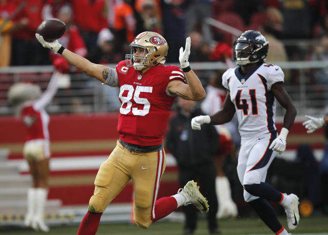 George Kittle feasted this season, despite the quarterback issues. He's earned his spot in the top tier at tight end. (AP Foto/John Hefti)