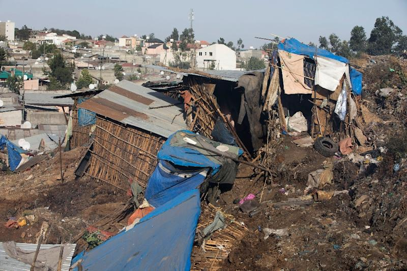 Damaged dwellings after a landslide in the main city dump of Addis Ababa