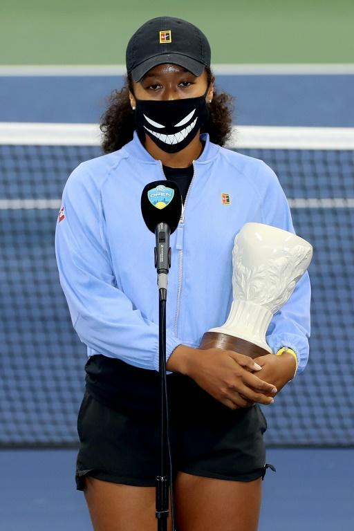 Naomi Osaka at the trophy ceremony