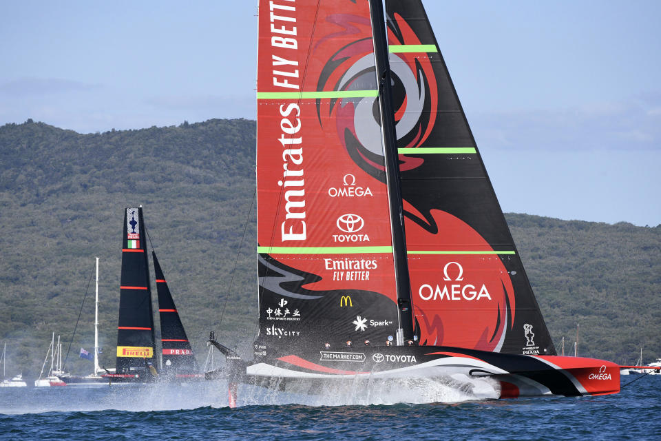Italy's Luna Rossa, left, sails against Team New Zealand during race 5 of the America's Cup on Auckland's Waitemata Harbour, New Zealand, Saturday, March 13, 2021. (Chris Cameron/Photosport via AP)