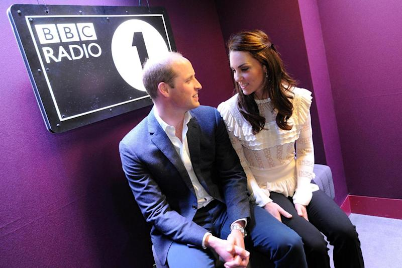 Going live: Kate and William at the BBC (PA)
