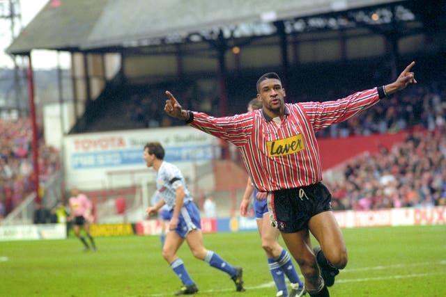 Brian Deane celebrates his historic goal against Manchester United in 1992